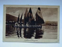ABBAZIA QUARNERO ISTRIA Vecchia Cartolina Barche Chioggiotte Chioggia AK Croazia 1924 - Croazia