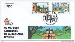FRANCE Poste 2007 #19 Cachet Premier Jour FDC TINTIN Voyages KUIFJE TIM HERGE GUEBWILLER Moulinsart Nestor - Comics