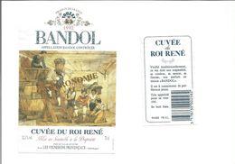 """Etiquette De VIN  """" BANDOL - Cuvée Du Roi René 1992 """" - Roséwijn"""