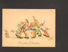 Märchen-Postkarte  Die Sieben Schwaben Gestempelt 1951 Aus Bad Bertrich Mit 10 Pfg.Bauten Briefmarke Und Notopfer Marke - Fairy Tales, Popular Stories & Legends