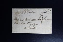 France : Letter 1721 ORL.X To Rennes - 1701-1800: Précurseurs XVIII