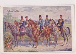MIL710  --  AUSTRIA , K. U. K. ARMEE   --  VIRIBUS UNITIS  --   FRANZ JOSEF, KAISER WILHELM, SULTAN OF TURKEY --   1916 - Guerra 1914-18