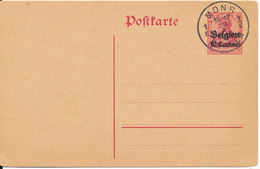 Belgium Postal Stationery German Postcard Overprinted Belgien Mons 20-10-???? - Postcards [1909-34]