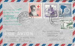 PRIMER VUELO BOEING 720 B SANTIAGO DE CHILE FRANKFURT VIA LUFTHANSA AÑO 1961 A KREFELD GERMANY ALEMANIA - Chile