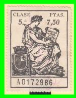 SELLO POLIZA DE LA CLASE 5ª DE 7.50  Ptas:  SERIE   A0172886 - 1931-Today: 2nd Rep - ... Juan Carlos I