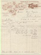Facture CHOCOLAT Et CONFISERIE  KLAUS S.A.  Le Locle Et Morteau  - Le Locle 2 Août 1917 - Suisse