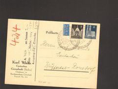Bizone Bauten 2 U.8 Pfg.mit Notopfer A.Postkarte 1952 M.Ortswerbestempel V.Gernsbach (Baden) - Bizone