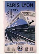 Automotrice Rapide Bugatti  -  Paris-Lyon 4h50 - Publicité  -  CPM - Eisenbahnen