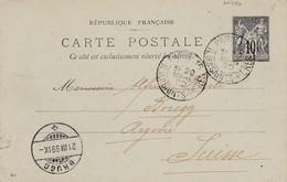 Oblitération PARIS 15 - R. Des SAINTS-PERES Du 20 Mars 1899 Sur Entier Postal Au Type Sage à Destination De La Suisse - Postmark Collection (Covers)