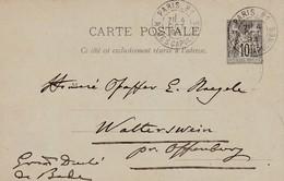 Oblitération PARIS 81 - R.  DES CAPUCINES Du 4/10/1893 Sur Entier Postal Au Type Sage à Dest. Du Grand Duché De Bade - Postmark Collection (Covers)