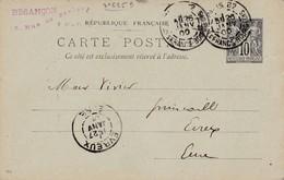 Oblitération PARIS. 82 - R. Des FRANCS BOURGEOIS  Du 26/01/1900 Sur Entier Postal Au Type Sage à Dest. De EVREUX - Postmark Collection (Covers)