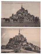 """50 - LE MONT SAINT-MICHEL . """" Le Côté Sud De La Digue """" & """" Les Voitures De Genet """" . 2 Cartes Postales - Réf. N°4778 - - Le Mont Saint Michel"""