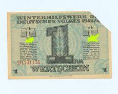 1 REICHSMARK-WHW -3.Reich ,1943/44,> # *WERTSCHEIN,entwertet Marienweiher / Bayern* #,(certificat Allemand) - 1939-45