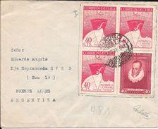 CURICO CHILE AÑO 1947 A EDUARDO ANGULO BUENOS AIRES ARGENTINA SOBRE CIRCULADO RARE - Chile