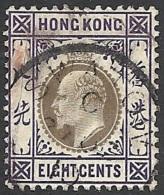 Hong Kong, 1904 KEVII 8c Vio & Blk Wmk Mult Crown CA  # SG 80 - Michel 80 - Scott 93 USED - Oblitérés