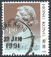 Hong Kong, 1990 QEII  $1.80 Multicolored Type II With Year 1990 # SG 610a - Michel 549 IV - Scott 533 USED - Hong Kong (...-1997)