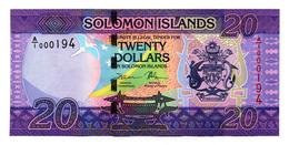 Solomon Islands 20 Dollars 2017 P-New Very Low Serial # A/1 000194 Unc - Isola Salomon