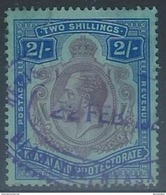 Nyasaland  1921   Sc#33  2sh  Wmk 4  Used   2016 Scott Value $15   Court Cancel? - Nyassaland (1907-1953)