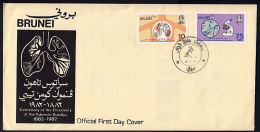 E0243 BRUNEI 1982, SG 312-3 Centenary Koch's Discovery Tubercle Bacillus,  FDC With PO Leaflet Enclosed - Brunei (1984-...)