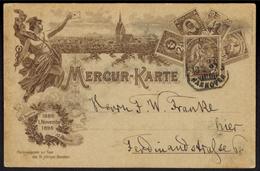 Stadtpost Privatpost Hannover Mercur Ganzsache P 17 B 10. Jahrfeier 1896 - Privatpost