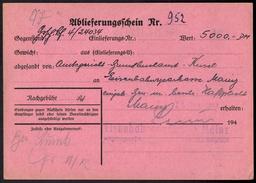 Bund Rückschein Eisenbahn Mainz Wert 5.000,- DM - Post