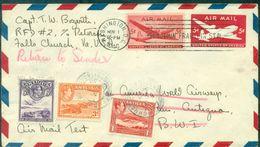 USA . AIR MAIL TEST 1946  Pour ANTIGUA Réaffranchis Pour Retour.TB Et Pas Courant. - Luftpost