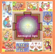 Astrological Signs,12 V MS, Top (L) & R(R) Twp Perforation Missing, Error, Condition As Per Scan,2010 - Astrology