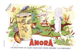 M A/Buvard Moutarde Amora  La Fontaine (Format 21 X 14) (N= 2) - Mostard