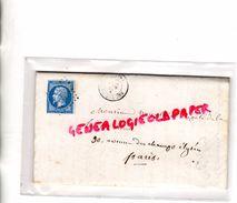 87-ROCHECHOUART- TIMBRE 20 C N° 14 BLEU EMPIRE ND SUR LETTRE ROCHECHOUART 1860- CACHET BORDEAUX A PARIS - 1853-1860 Napoleon III