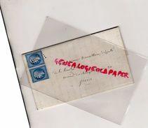87-ROCHECHOUART- 2 TIMBRES 20 C N° 14 BLEU EMPIRE ND SUR LETTRE ROCHECHOUART 1860- BEAU CACHET VERT MAIRIE  ROCHECHOUART - 1853-1860 Napoleon III