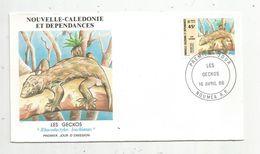 Timbre, FDC , 1 Er Jour , Nouvelle Calédonie Et Dépendances, LES GECKOS , NOUMEA, 1986 - Nouvelle-Calédonie