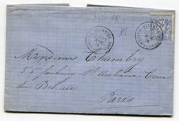 BASSES PYRENEES De BIARRITZ LAC Du 14/11/1876 Sage N°78 Oblitéré Par Dateur T 18 - 1877-1920: Période Semi Moderne