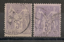 2 Belles NUANCES, 5F SAGE. TB DENTELURE. - 1876-1898 Sage (Type II)