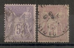 LES 2 NUANCES, 5F SAGE. BEAUX TIMBRES. - 1876-1898 Sage (Type II)