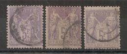 3 NUANCES.  5F SAGE. Tous TB DENTELURE. Cote > 300 EUR - 1876-1898 Sage (Type II)