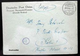 Deutsche Post Im Osten Feldpostbrief Aus Neumarkt (Distr. Krakau) 1944 - Besetzungen 1938-45