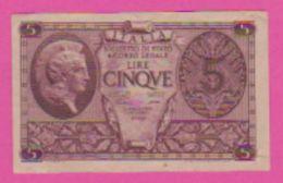 Billet - ITALIE 5 Lires Du 23 11 1944 - Pick 31a - Violet - [ 1] …-1946 : Kingdom