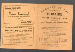Ain : Horaire Des TRAMWAYS DE L'AIN 25 OCT 1934 (PPP6219) - Europe