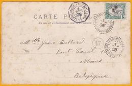 1908 - CP De Djibouti, Côte Française Des Somalis Vers Mons, Belgique Par Ligne Paquebot Réunion Marseille - Côte Française Des Somalis (1894-1967)