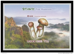 North Korea 2017 Mih. 6387B (Bl.940B) Flora. Matsutake (Pine Mushrooms). Mountains (imperf) MNH ** - Korea, North