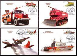 Ukraine 2017 Set Maxi Card Fire Fighting Vehicles History Of Fire Transport Tank Truck Boat Plane #279 - Ucrania