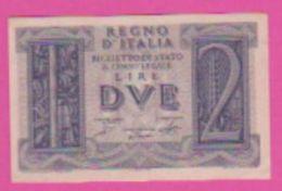 Billet - ITALIE 2 Lires 14 11 1939 - Pick 27 - Violet - [ 1] …-1946 : Koninkrijk