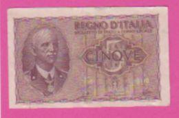 Billet - ITALIE 5 Lires 1940 - 1944 - Pick 28 - Violet - [ 1] …-1946 : Kingdom