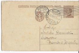 STORIA POSTALE REGNO - ANNULLO FRAZIONARIO ARGENTA (FE) 24-4 SU INTERO MICHETTI (DOMANDA)13.11.1931 - Storia Postale