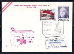 ERSTFLUG WIEN-MADRID DER AUSTRIAN AIRLINES MIT  DC 9 2 APRIL 1978. CECI 1 328 - Premiers Vols AUA