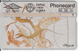 PAPUA NEW GUINEA - Leo Singu Art/Lizards(25 Units), CN : 401A, Tirage 38000, Used - Papua Nuova Guinea