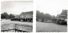 Lot De 2 Photos De Mai 1963 : Char Panther (capturé à Dompaire En Sept. 1944) Au Jardin Des Invalides à Paris - Krieg, Militär