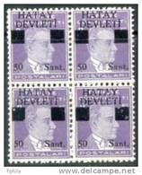 1939 TURKEY BLACK HATAY DEVLETI OVERPRINTED POSTAGE STAMPS WITH THE PORTRAIT OF ATATURK (1st. Issue) MICHEL: 12 MNH ** - 1934-39 Sandjak Alexandrette & Hatay