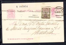 ESPAÑA 1935. MATRONA REPUBLICANA. EDIFIL Nº 68. CIRCULADA BARCELONA MADRID CON ADICIONAL AYUNT. BARCELONA . CECI 1 344 - Enteros Postales