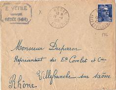 FR-GAN3 - FRANCE 15F Marianne De Gandon Sur Lettre De Bédée Pour Villefranche Sur Saône 1951 - Francia